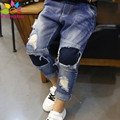 Enbaba kids jeans boys winter warm casual baby boys denim ripped jeans kids jeans for teenagers boys children trousers pants