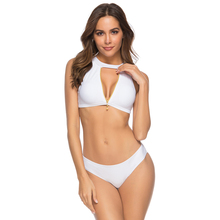 Купить с кэшбэком 2019 Sexy Solid Biquini Zipper High Neck Swim Bathing Suit Plus Size White Swimwear Women Brazilian Bikini Push Up Swimsuit