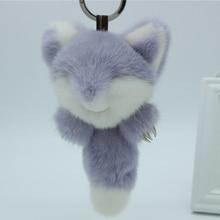True mink fox key metal claw phone bag pendant fur keychain women sweater charm pendant cute animal little fox