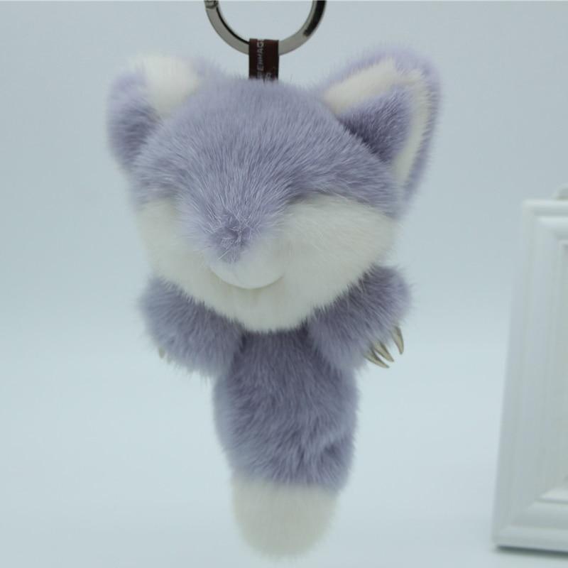 Véritable vison renard clé métal griffe téléphone sac pendentif fourrure porte-clés femmes pull pendentif à breloque mignon animal petit renard