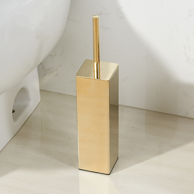 Gold  Creativer Free Stand Polish Toilet Brush Holder Set  Toilet Bowl Brush Stainless Steel Brushed Gold Bathroom Accessories