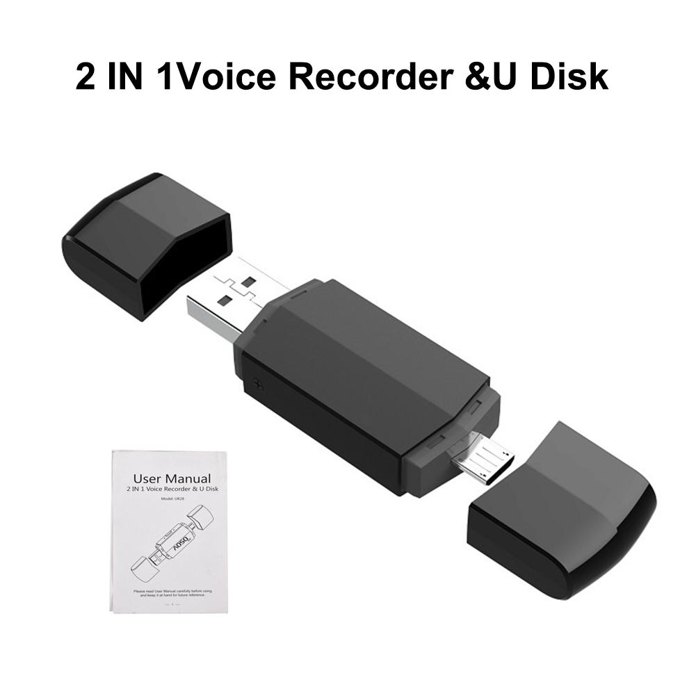Portable HD Digital USB Voice Recorder 8GB Recording U Disk OTG For Android Dual Plug MP3 Recorders image