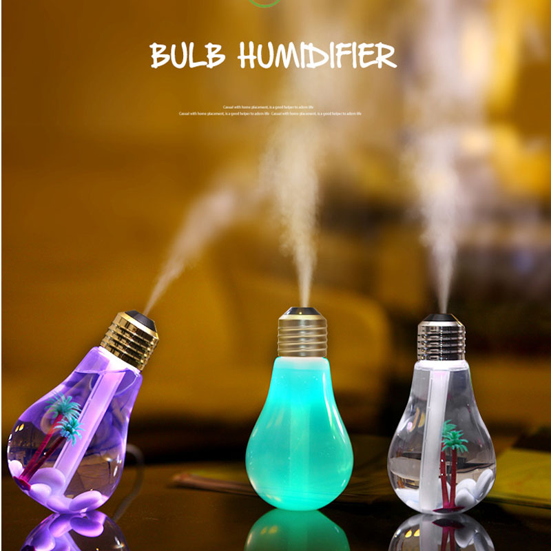 HOTOOK LED Night Lights Ultrasonic Humidifier Colorful Bulb USB Mini humidificador Air Purifier Atomizer for Car Home Table home car dual use mini usb vehicle aromatherapy humidifier ultrasonic air water supply instrument atomizer