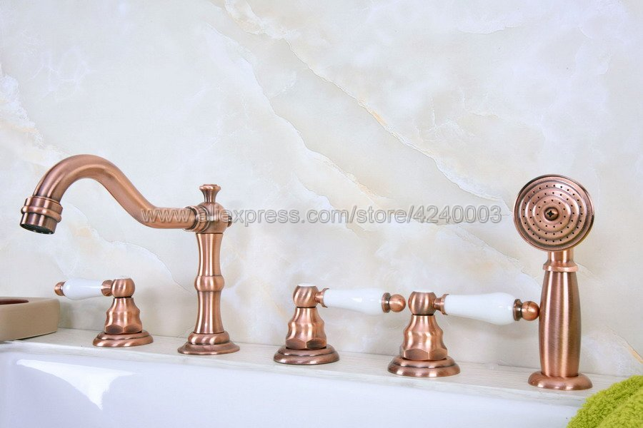 Antique Red Copper  Bathroom Tub Mixer Faucet Set Deck Mounted with Handshower 3 Handles Widespread Bathtub Taps Ktf226Antique Red Copper  Bathroom Tub Mixer Faucet Set Deck Mounted with Handshower 3 Handles Widespread Bathtub Taps Ktf226