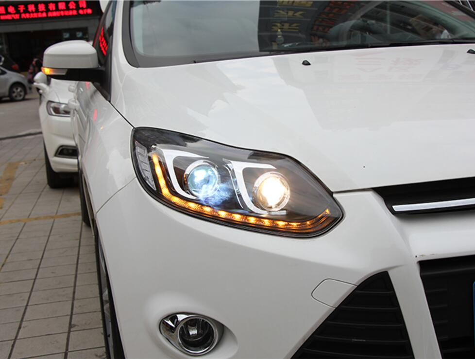 2PCS LED Headlights For Ford Focus 2012 2014 Car Led Lights Double Xenon Lens Car Accessories Daytime Running Lights Fog Ligh|Chromium Styling| |  - title=