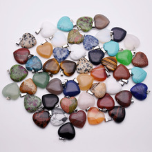 fashion 20mm natural stone heart pendants Necklace for jewelry making 50Pcs/lot mixed charms trendy accessories wholesale