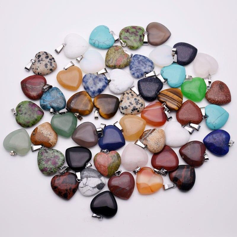 Mode 20mm natürliche stein herz anhänger Halskette für schmuck machen 50 teile/los mixed charms trendy zubehör großhandel