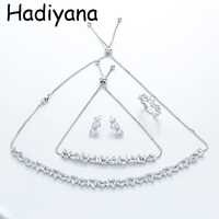 HADIYANA Elegant 4PC African Cubic Zinconia Jewelry Set for Women Costume Jewelry Choker Sets With Earrings Bracelet Ring TZ8060