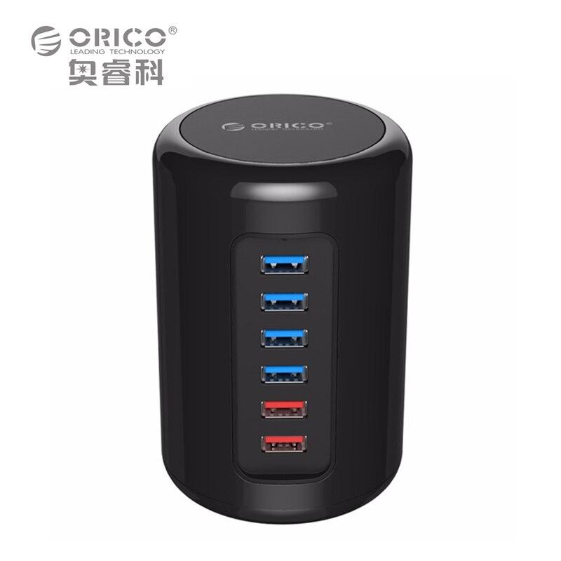 ORICO RH4CS-BK 4-Port USB3.0 HUB ABS Mac Design Ultra-Mini with 2 Charge Port Super Charger 5V Max 2.4A for Pad Phone -Black