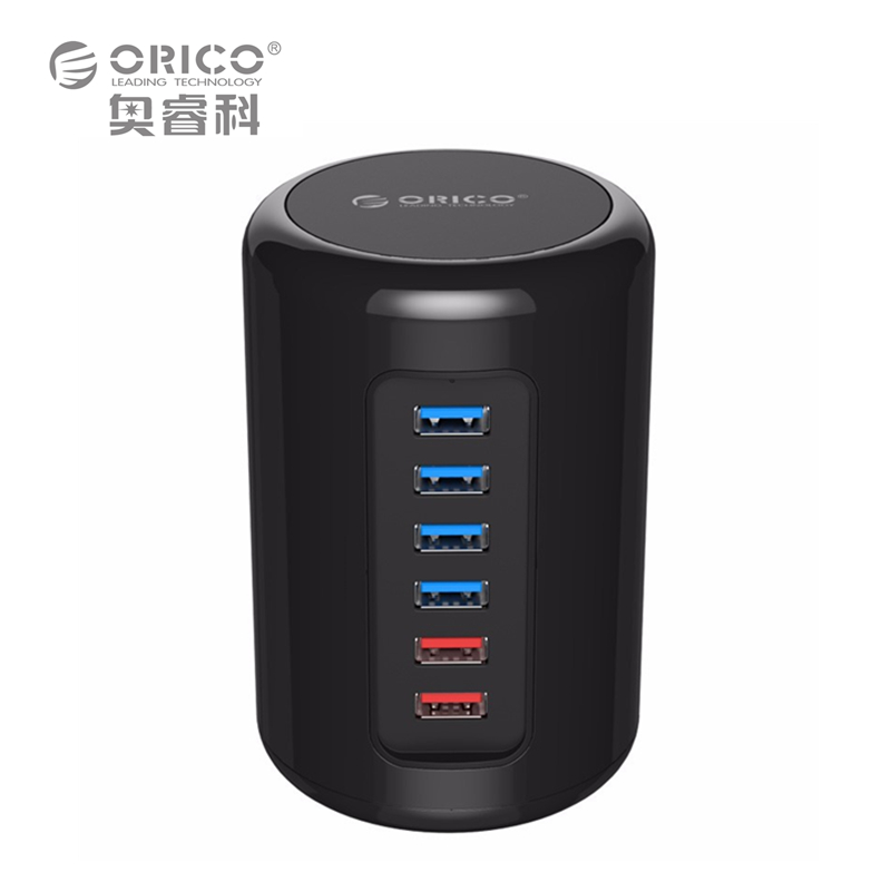 ORICO RH4CS-BK 4-Port USB3.0 HUB ABS Material Ultra-Mini with 2 Charging Ports Super Charger 5V Max 2.4A for Pad Phone -Black orico dub 8p bk 8 ports 2 4a super charger for tablet pc cellphone black us plug