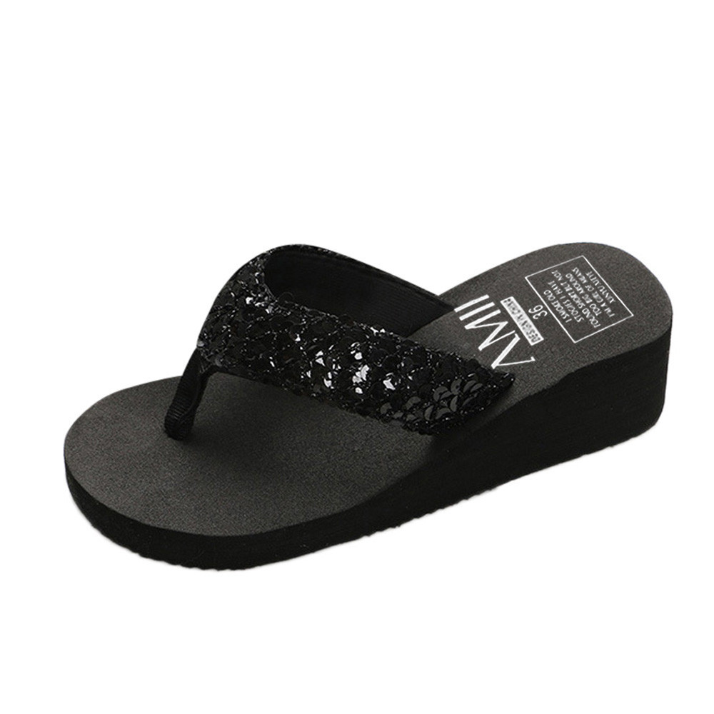 HTB12ve3cUCF3KVjSZJnq6znHFXag Summer Women Flip Flops Casual Sequins Anti-Slip slippers Beach Flip Flat Sandals Beach Open Toe Shoes For Ladies Shoes #L5