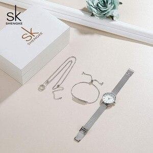 Image 3 - Shengke מותג Creative נשים שעון גביש עיצוב צמיד שרשרת סט נשי תכשיטי אופנה יוקרה שעוני יד מתנה לנשים