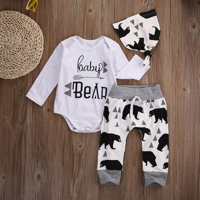 3 Pieces Baby Boy Animal Bear Long Sleeve Romper, Pant and Hat Set