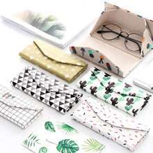 2019 Fashion Droppshiping Folding Eyeglass Case Holder PU Leather Printed Goggles Protective Box Glasses Sunglasses Pouch dg88