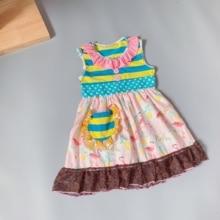 2019NEW grey dress cartoon animal middle Cotton Baby Girls Outfits Children flower ruffled Ruffle Dress Kids Clothing