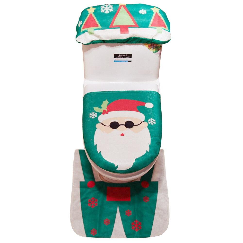 New 3Pcs/Set Funny Christmas Toilet Seat Cover Santa
