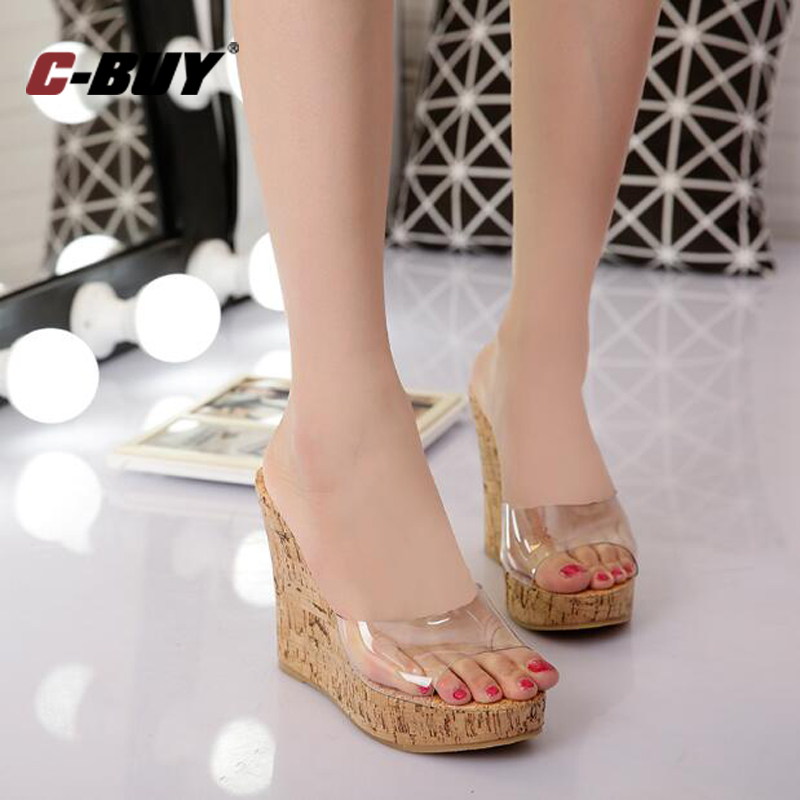 73b9c75f2f2 Women Transparent Wedge Sandals New Arrival Women Shoes high heeled women  Slippers Plus Size 35 43 z65-in Women s Sandals from Shoes on  Aliexpress.com ...