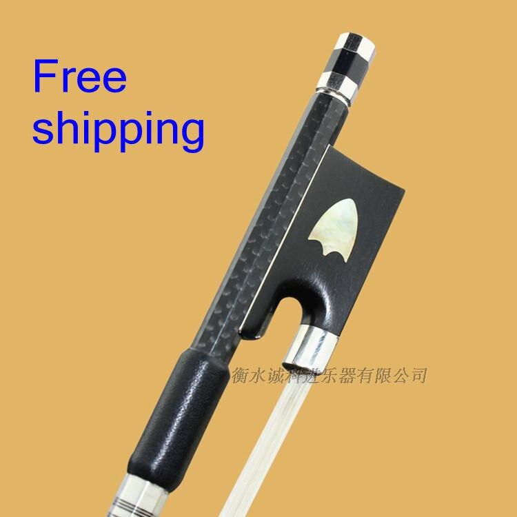 1 Pc professionnel en fiber de carbone violon arc 4/4 bon équilibre nataul blanc crin d'ébène grenouille titane pièces raccords accessoires