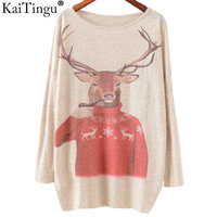 KaiTingu 2016 Autumn Winter Fashion Women Long Batwing Sleeve Knitted Christmas Deer Print Sweater Jumper Pullover