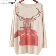 Autumn Winter Fashion Women Long Batwing Sleeve Knitted Christmas Deer Print Sweater