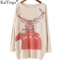 KaiTingu 2016 Autumn Winter Fashion Women Long Batwing Sleeve Knitted Christmas Deer Print Sweater Jumper Pullover