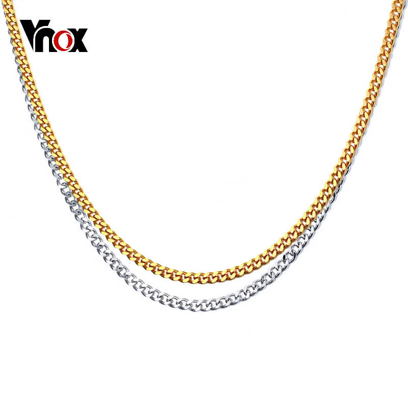 fe73779ebf9 Vnox 3mm Curb Link Chain Men Necklace Gold Color Stainless Steel Male  Jewelry W/ K18