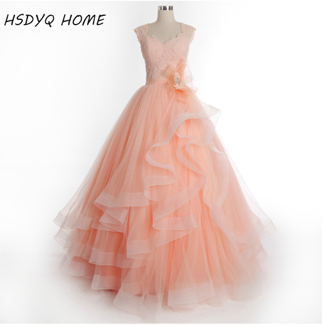 Real Photo Orange Ball Gown Prom Evening Dresses Cap Sleeve V neck ...