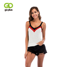 GOPLUS 2019 Spring Patchwork Strap Knitted Tank top Women Blouse Sexy Sleeveless Vest Casual Streetwear Club Party Camis Female