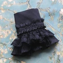 Женский черный многослойный кружевной манжет