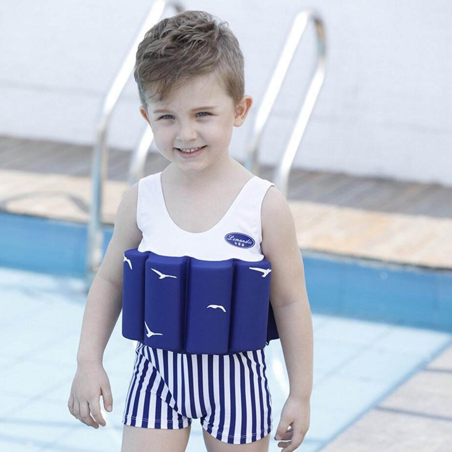 hot sale 2017 new childredn kid boys swimwear Buoyant swimsuit baby boy bodysuit floating swimming pool swimwear bikini 321