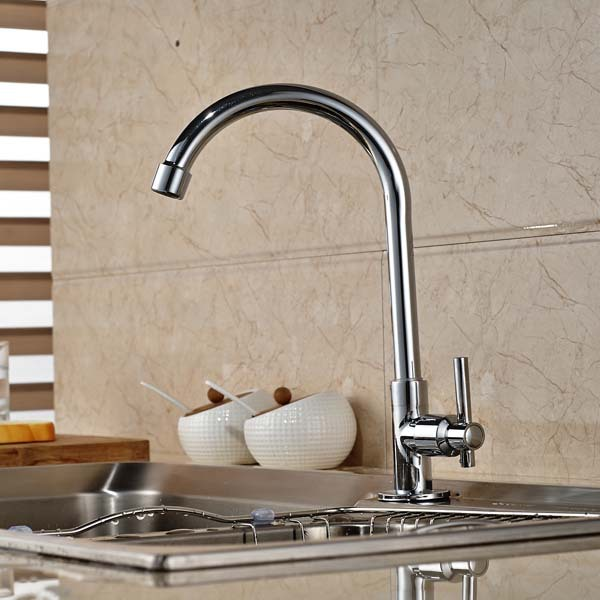 Polished Chrome Brass Cold Water Kitchen Faucet Swivel Spout Single Handle Hole Deck Mounted Tap