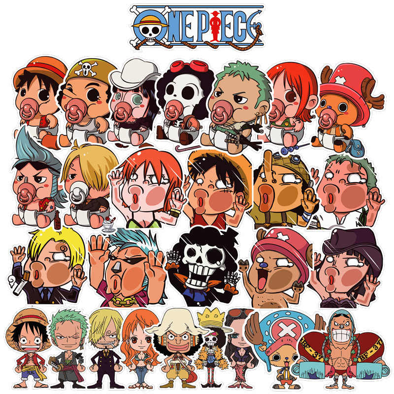 28PCS One Piece Anime Stickers For Snowboard Luggage Car Fridge Laptop DIY Cute Sticker Classic Toys For Children Birthday Gifts