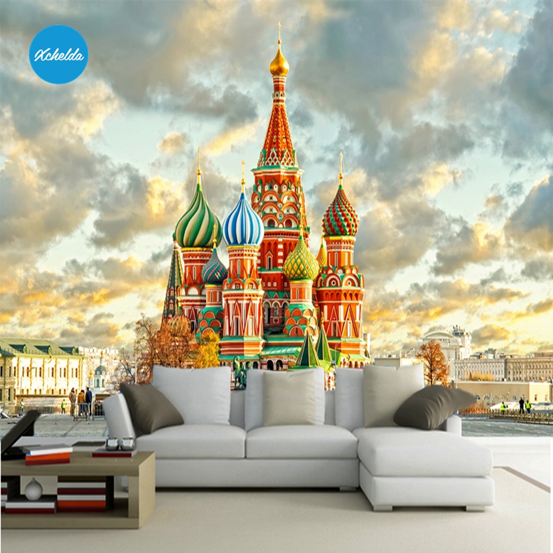 XCHELDA Custom 3D Wallpaper Design Russian Castle Photo Kitchen Bedroom Living Room Wall Murals Papel De Parede Para Quarto xchelda custom modern luxury photo wall mural 3d wallpaper papel de parede living room tv backdrop wall paper of sakura photo