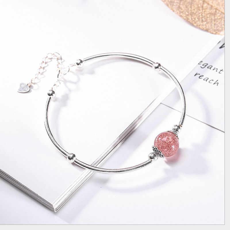 Uglyless 100% リアル 925 スターリングシルバー中空女性のためのバングルイチゴ水晶玉ビーズファインジュエリー宝石