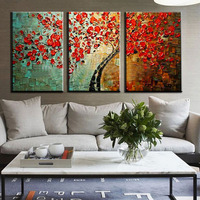 Unframed 3 Panel Red Wishing Tree Handpainted Textured Palette Knife Abstract Modern Oil Painting Wall Picture