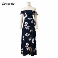 2017 New Arrival Summer Casual Beach Slash Neck Dress Women Printing Chiffon Long Dresses YN032