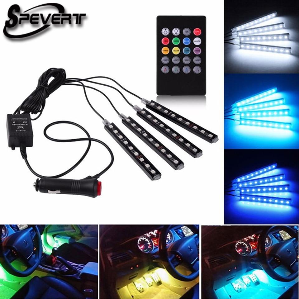 SPEVERT 4x 9 LED 5050 RGB font b Car b font SUV font b Interior b