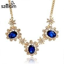 Blue Rhinestone Flower Necklace Women Link Chain Gold Statement Necklaces 2016 Collares Bijoux SNE150839 chic wide link rhinestone flower necklace for women