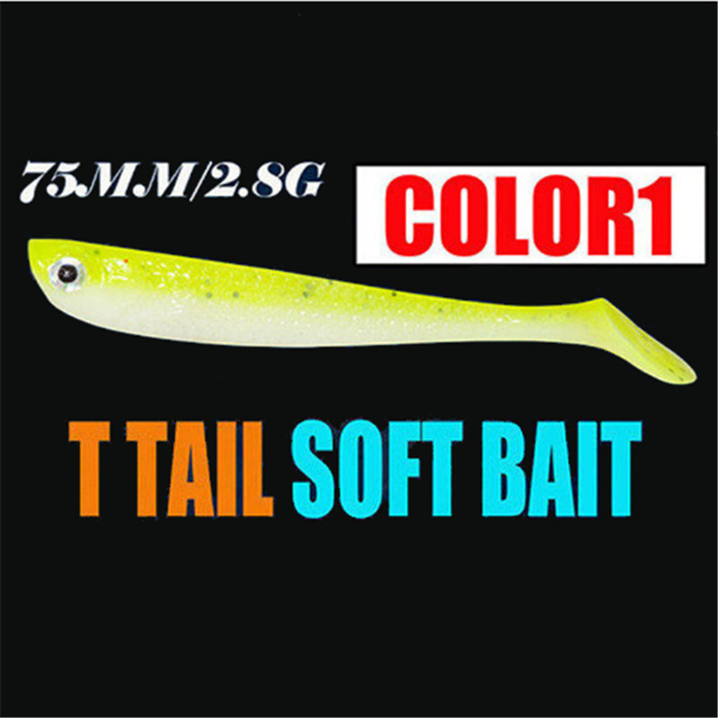 1Pcs 10 Colors Soft Rubber Bait Fishing Lures 75mm 2.8g Quality Professional Artificial Bait Bass Lures Carp Wobblers Soft Lure