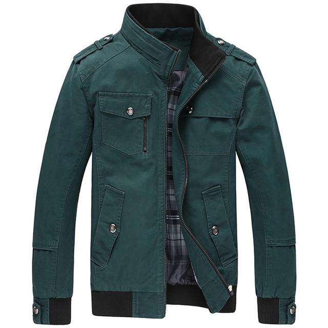 TANGNEST Jaqueta Masculina 2017 Men's New Casual Jacket Multi-pocket Mandarin Collar Men Coat Comfortable Mens Jackets MWJ1771