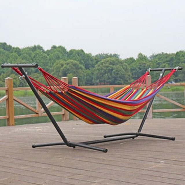 Hangmat Voor Op Balkon.Us 89 98 Mode Dubbele Hoofd Hangmat Afneembare Beugel Ijzeren Frame Rollover Preventie Balkon Park Opknoping Chiar 2 1 5 M Swing Bed Nieuwe In