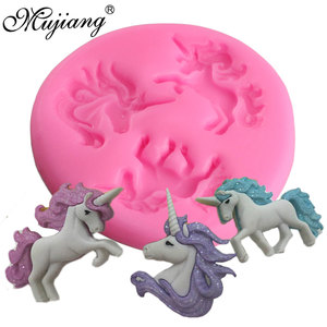 Mujiang Unicorn Silicone Mold Baby Birthday Fondant Cake Decorating Tools Unicornio Candy Chocolate Gumpaste Polymer Clay Moulds