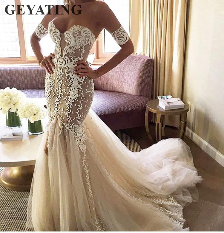 2019 Vintage Lace Mermaid Wedding Dress Off Shoulder