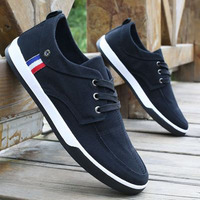 New 2016 Breathable Mens Shoes Casual Canvas Lace Up Solid Flats Denim Men Shoes Spring Autumn
