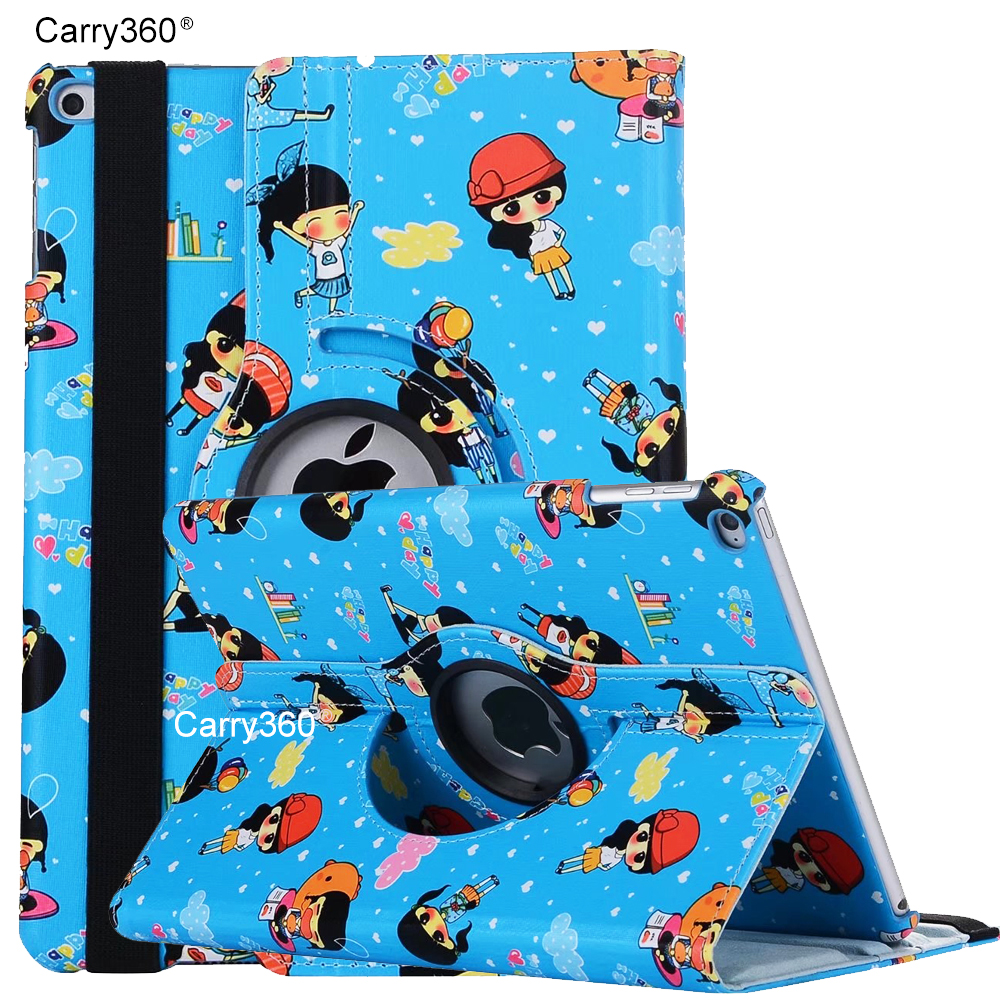 Case for iPad 2017 9.7 inch, Carry360 Cute Cartoon 360 Degree Rotating Stand Smart Cover Case for Apple New iPad 2017 Girl Gifts