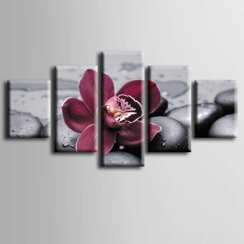 مؤطرة 5 قطعة الصورة الأرجواني ستون زهرة قماش الفن طباعة النفط الطلاء لوحات غرفة المعيشة جدار decorativos