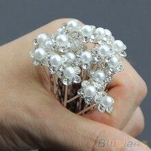 20Pcs Wedding Bridal Pearl Flower Rhinestone Crystal Hair Clip Pins Bridesmaid 4PQK
