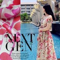 Flower Printing Ultra Thin Silk Chiffon Fabric 100 Silk Fabric Scarf Dress Silk Fabric Silk Tulle
