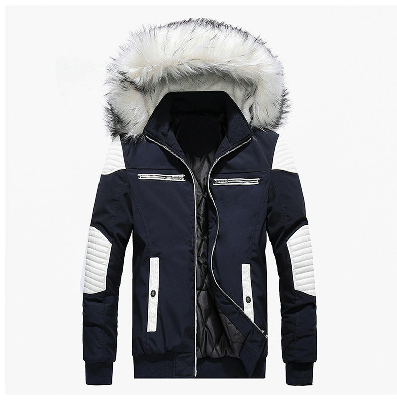 Autumn Winter Jacket Men 18 New Big Fur Hooded Thick Warm Mens Winter Coats Patchwork Color Windproof Parka Men Outwear 4