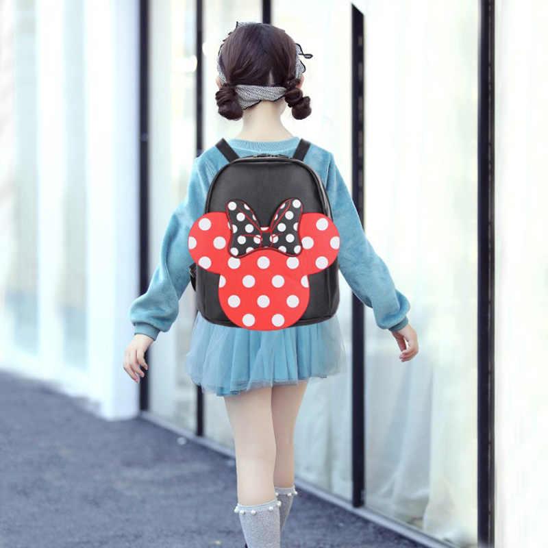Дисней Минни Маус рюкзак Горячая Микки Маус Девушка сумки Kawaii детские PU сумки для девочек Женский рюкзак подарки на день рождения